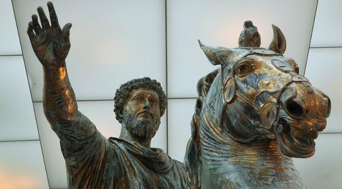 Roman bronze equestrian statue of Marcus Aurelius displayed in the Capitoline Museums in Rome, Italy.