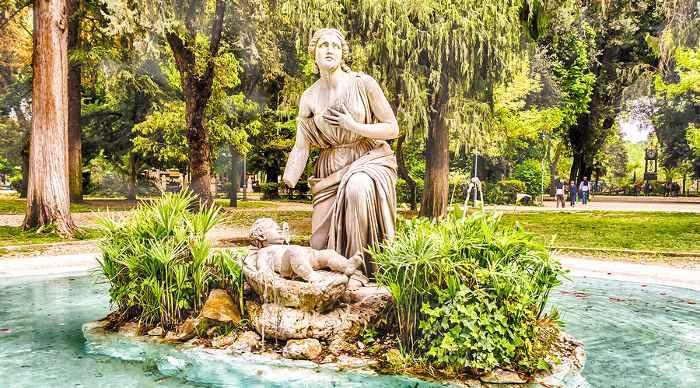 Classical Fountain in Villa Borghese Park, Rome Italy.