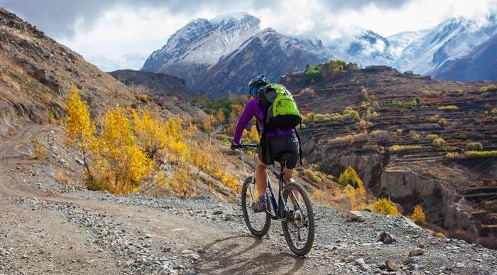 Biker in Annapurna Region