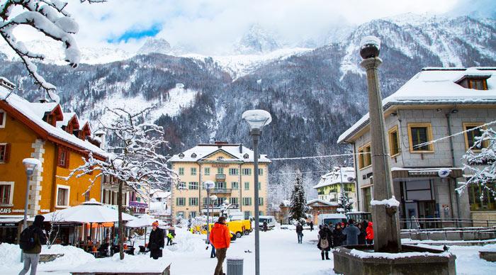 Street view in Chamonix town