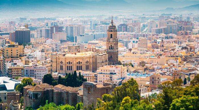 An aerial veiw of Malaga city, Spain