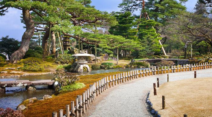 A Landsacpe inside Kenrokuen park in Kanazawa