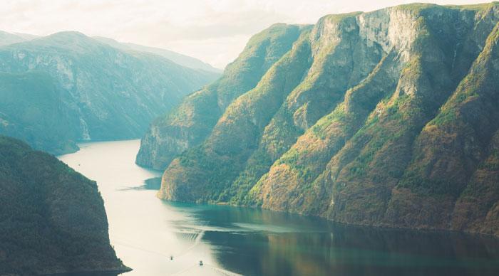 Fjord Sognefjord at summer