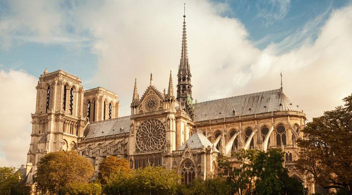 A view of Notre Dame De Paris Cathedral