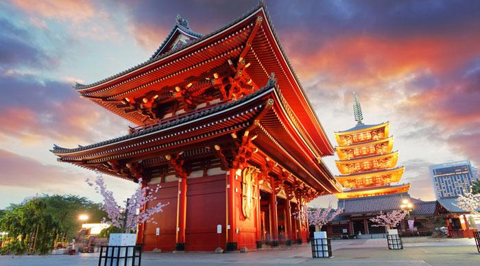 A view of the Sensoji Temple