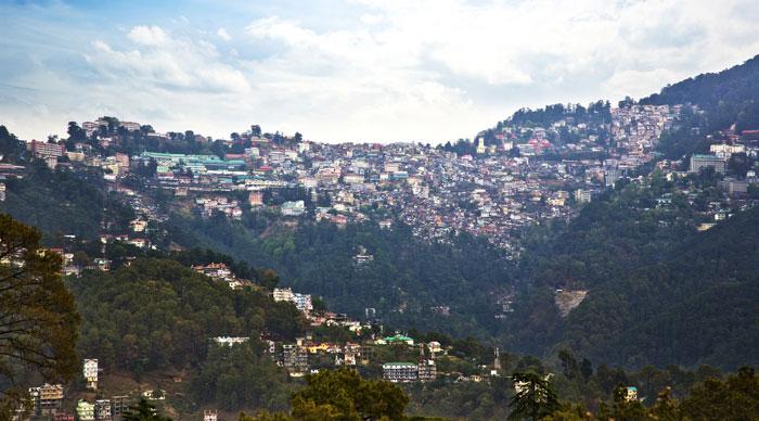 High angle view of buildings on a mountain, Shimla