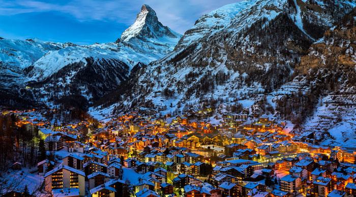 Aerial view on Zermatt valley, Switzerland at Dawn