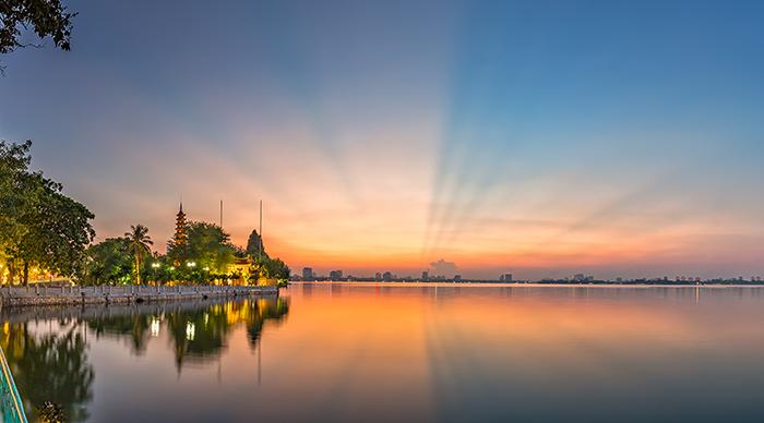 Tran Quoc Pagoda west lake in Hanoi, Vietnam