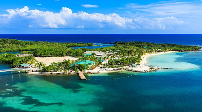 Panoramic view of the Roatan Island Honduras