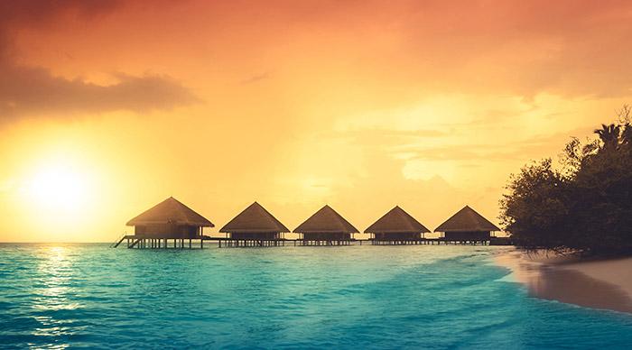 Sunset views on the island of Maldives