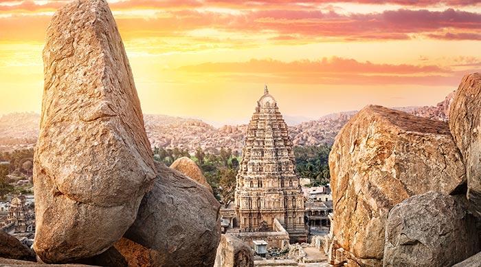 Virupaksha temple view from Hemakuta hill at sunset in Hampi Karnataka India