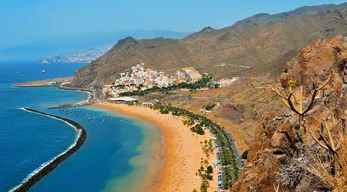 Aerial view of Teresitas Beach in Tenerife in Canary Island