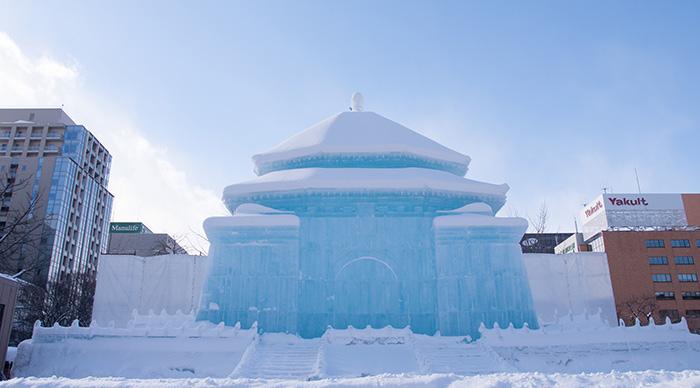 Illuminated snow sculpture of The National Chiang Kai-shek Memorial Hall at Sapporo Snow Festival