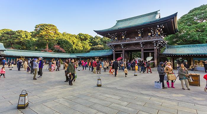 People visiting Meiji jingu shrine during new year in Tokyo Japan