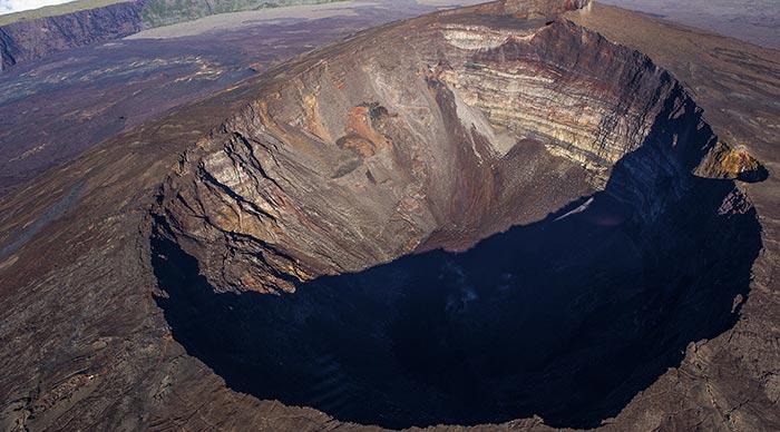 Aerial view of Piton de la Fournaise volcano
