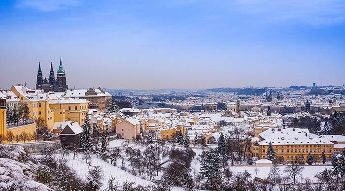 Aerial view of Prague during winter season