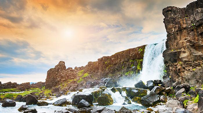 Beautiful Oxararfoss waterfall in Thingvellir national park western Iceland