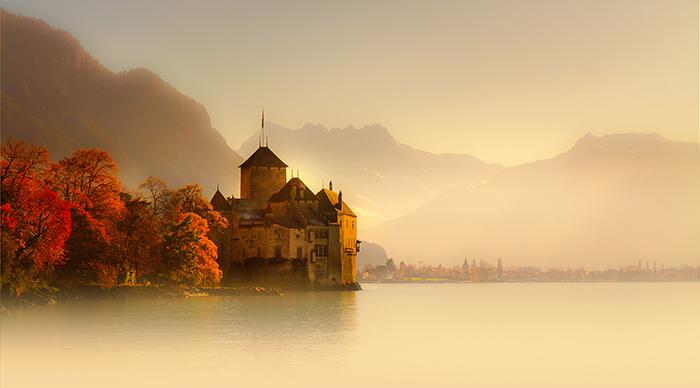 Chateau de Chillon on the shores of Lake Geneva