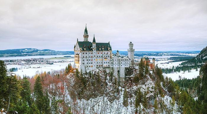 Neuschwanstein castle in Bavaria Germany at winter time