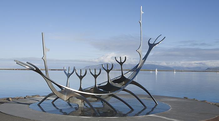 The Sun Voyager - Stainless Steel Viking Sculpture on Reykjavik shoreline