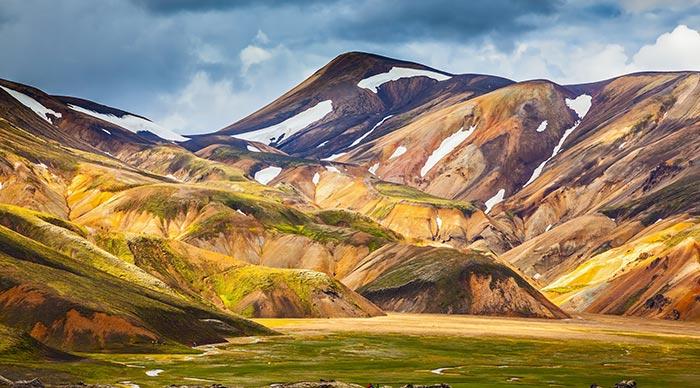 The valley of national park Landmannalaugar in warm sunlight