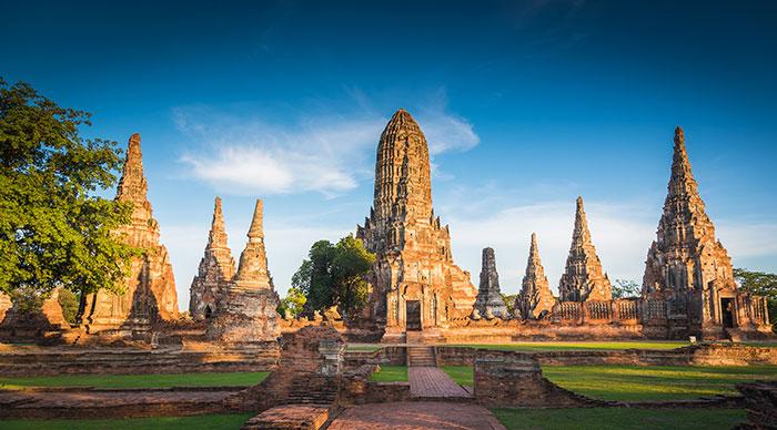 Landscape of Ayutthaya Historical Park in Ayutthaya Thailand