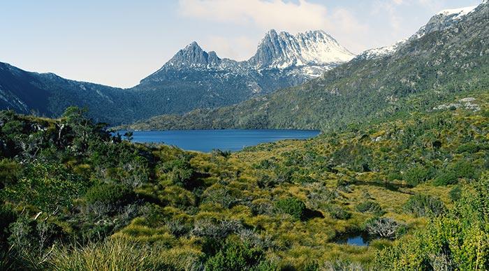 View of a cradle mountain in Tasmania, Australia