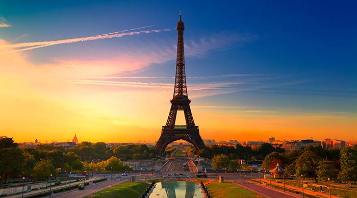 View of Eiffel tower Paris France