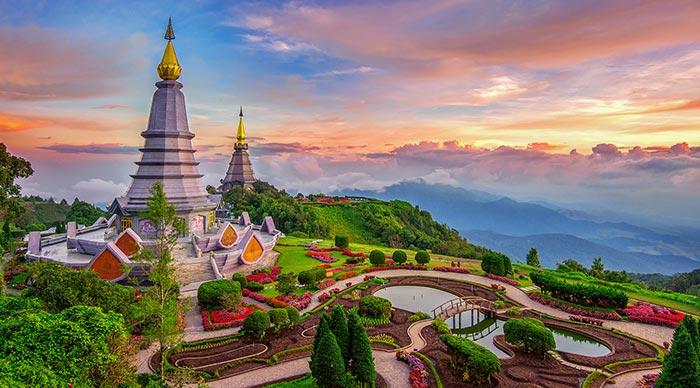 Landmark pagoda in doi Inthanon national park at Chiang mai