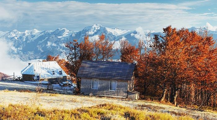 Carpathian mountain landscape in Ukraine