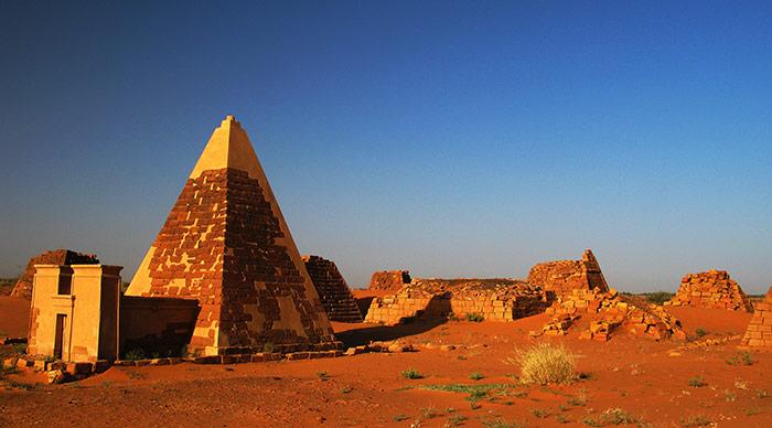Landscape of Meroe pyramids in the desert Sudan