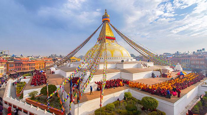 Aerial view of Boudhanath stupa in Kathmandu Nepal